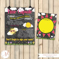 Sunshine Birthday Time Capsule Chalkboard Poster + Matching Message Card, Girl Pink Yellow First 1st Birthday, Our Little Sunshine, Digital by SquishyDesignsbyMe