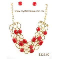 Set de collar y aretes en tono dorado en forma de cadenas con detalles en color rojo estilo 30207