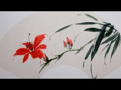 Ink Painting, Fabric Painting, Watercolor Paintings, Watercolour, E Flowers, Chinese Brush, Hand Art, Day Lilies, Chinese Painting