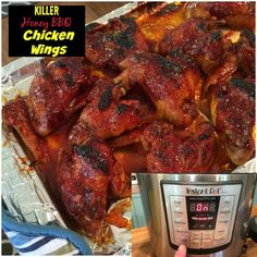 Instant Pot Recipes: Honey BBQ Chicken Wings - Hubby and I loved these wings! So easy and fall-off-the-bone delicious. Power Cooker Recipes, Pressure Cooking Recipes, Crockpot Recipes, Yummy Recipes, Freezer Cooking, Asian Recipes, Keto Recipes, Slow Cooker Pressure Cooker, Recipes