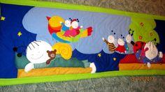 """Bogyó és Babóca mesefigurás falvédő """" Szép álmokat """" rendelhető 180 60 cm, Baba-mama-gyerek, Gyerekszoba, Falvédő, takaró, Varrás, Patchwork, foltvarrás, Népszerű mesehősök, Bogyó és Babóca álmodik éppen ezen a gyönyörű falvédőn. Az """" álomkép """" figurái ..., Meska"""