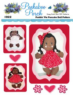 An adorable little African-American baby girl, looking sharp and sassy with her 14 braids. 15 inches high. You have a choice of creating a little one in a pink dress and mop hat, booties and bloomers with bows on her braids, or a baby girl stylin' in her red pillowcase dress, big red hair bow, bloomers and cute little shoes. This Easy Soft Cloth Doll PDF Pattern includes both dresses,hairbow, shoes, bloomers, mop hat and doll.  Be sure to check out her BFF Cutie Pie, her best friend, as…