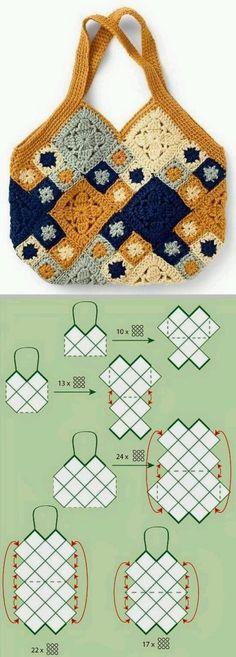Transcendent Crochet a Solid Granny Square Ideas. Inconceivable Crochet a Solid Granny Square Ideas. Crochet Simple, Crochet Diy, Crochet Amigurumi, Crochet Tote, Crochet Handbags, Crochet Purses, Crochet Crafts, Crochet Projects, Crochet Ideas