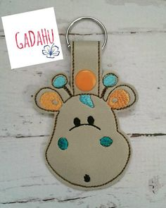 Cute Little Giraffe Face Key Fob Snap Tab Embroidery Design 4X4 size by Gadahu on Etsy