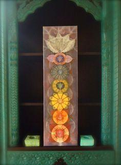 Bodhi CHAKRAS painting Yoga art Reiki energy YOGA PAINTING Spiritual painting print on canvas prana Rainbow colors Lotus Flowers. via Etsy.