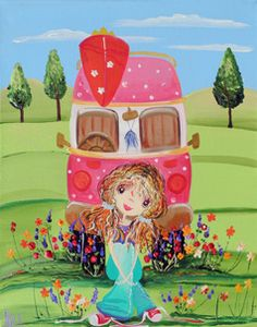 Me and My Combi from my whimsical girls artworks by Peta E. More info about me at my website www.petae.com.au