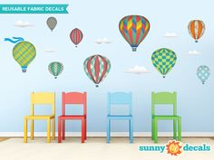 Hot Air Balloons Fabric Wall Decals with 9 Hot Air Balloons and 6 Clouds - Rainbow - Jumbo Sized - Available in 5 Color Options and 2 Sizes 5 Balloons, Balloon Wall, Hot Air Balloon, Nursery Wall Stickers, Wall Decals, Wall Art, Transfer Paper, Biodegradable Products, Cool Designs