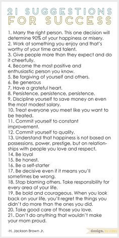 21 Suggestions for Success! Great list of ideas to work on for the new year! // caleyparkdesigns.blogspot.com
