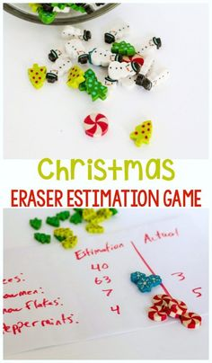 This no-prep Christmas math game is always a hit! Christmas mini eraser estimation game is a great way to work on estimation without worksheets! Learning Games For Kids, Educational Activities For Kids, Fun Math Games, Math For Kids, Stem Activities, Holiday Activities For Kids, Kindergarten Math Activities, Preschool Math, Winter Activities