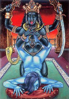 Birth of a Goddess Kali Goddess, Black Goddess, Triple Goddess, Kali Ma, Female Vampire, Occult Art, India Art, Old Paintings, Indian Gods