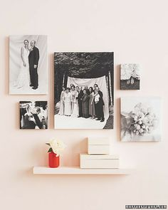Wedding Pictures Without Borders    When displaying wedding photographs, think outside the frame. Many companies will print images on stretched canvases (ours are from Duggal) rather than photo paper. Mix posed and candid shots in various sizes and arrange on the wall for a modern look.