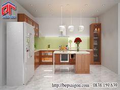 Tủ bếp gỗ sồi vân gỗ tự nhiên cho phòng bếp trang nhã TB6