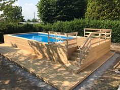 Above ground swimming pool covered with Siberian larch Overall dimensions mt. x … - Piscina Oberirdischer Pool, Small Backyard Pools, Backyard Pool Landscaping, Backyard Pool Designs, Diy Pool, Swimming Pools Backyard, Intex Pool, Rectangle Above Ground Pool, Rectangle Pool