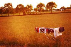 On profite des derniers rayons du soleil breton pour sécher notre linge en plein champ #VieEnPleinAir #10pieds10mains