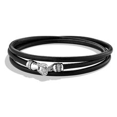 Women's David Yurman 'Cable Buckle' Triple-Wrap Bracelet in Leather ($630) ❤ liked on Polyvore featuring jewelry, bracelets, 18 karat gold jewelry, cable jewelry, david yurman jewellery, david yurman bangle and buckle jewelry