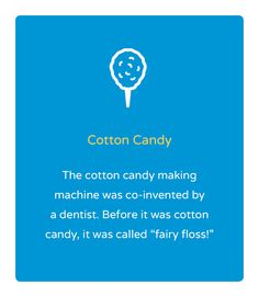 "Orthodontic Facts The cotton candy making machine was co-invented by a dentist. Before it was cotton candy, it was called "" fairy floss!"" Nalchajian Orthodontics - 7501 N Fresno St, Suite Fresno, CA 93720 Phone: 432 7100 Dental World, Dental Life, Dental Health, Oral Health, Dental Fun Facts, Dental Jokes, Fun Fact Friday, Dental Cosmetics, Emergency Dentist"