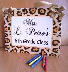 Grade Class  tan leopard print door sign teachers by kasefazem, $15.99