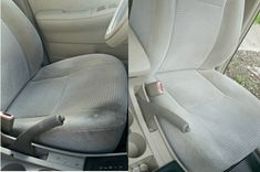 This DIY car upholstery cleaner will get your interior looking like new in no time. I love cheap car hacks that are simple and can be used on multiple fabrics. Car Window Cleaner, Seat Cleaner, Car Cleaning Hacks, Car Hacks, Cleaning Supplies, Rug Cleaning, Car Upholstery Cleaner Diy, Home Design, Clean Cloth Car Seats