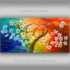 Large Surreal Art oil painting Original Fancy Blossom tree Impasto texture sunset landscape painting Modern deco by Tim Lam 48x24, Etsy