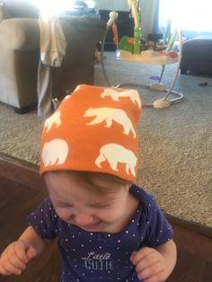 ORGANIC Reversible Orange Bear Hike & Cream Hat by GemmaGemsBoutique on Etsy