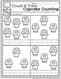 Cupcake Number Tracing Preschool Worksheets for February