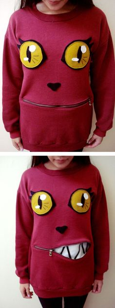 DIY cat sweater with zipper mouth