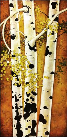 3 Aspen Trees by a Canyon Rock Face 6 feet by 3 feet acrylic on wood panel. The background features a painted rock wall texture.