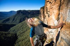 """""""There is definitely some scary stuff up there"""" @macciza scoping out the last pitch at Carne Walls Blue Mountains"""