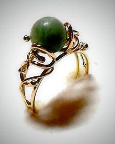 Amazonitový zlatý prsteň/Amazonit ring