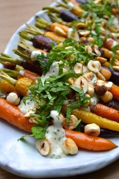 Roasted Carrots w Mint Tahini Sauce Every Last Bite Side Dish Recipes, Vegetable Recipes, Vegetarian Recipes, Cooking Recipes, Healthy Recipes, Tofu Recipes, Cooking Tips, Oven Recipes, Sausage Recipes