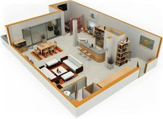 Studio Apartment Plan studio apartment 3d floor plan - google search | navy, hot pink
