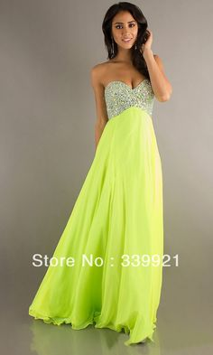 Cheap chiffon knee length dress, Buy Quality dress store directly from China chiffon abaya Suppliers:  >Model Shown<Sexy Beaded Strapless Sweetheart Empire Pink Orange Lime Green Chiffon Floor Length Prom Dr