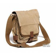 khaki canvas small messenger bag