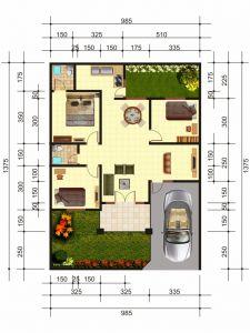 Denah Rumah Minimalis 985cm x 1375cm