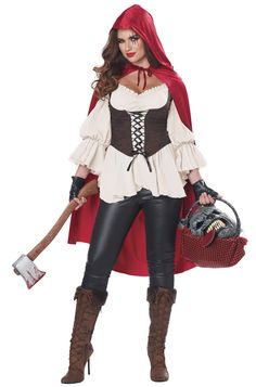 Women's Ain't Afraid of No Wolf (little red riding hood) Costume. Red's got it going on with a tough costume that'll make your Halloween night extra. Fairy Tale Costumes, Cool Costumes, Adult Costumes, Costumes For Women, Costume Ideas, Wolf Costume Women, Woman Costumes, Mermaid Costumes, Cosplay Costumes
