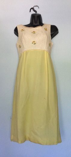 Darling 1960's yellow and white dress