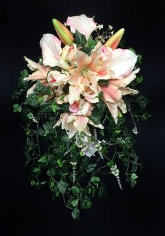 MOVING SALE! Cascading Bride's Bouquet with Tiger Lilies, Roses and Calla Lilies in Shades of Blush and Peach with English Ivy