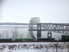 Trains, barges and automobiles at the Chester Bridge in winter. Photo courtesy of Christopher Martin. Randolph County, Chester, Illinois, Trains, Bridge, Tours, Places, Winter, Southern