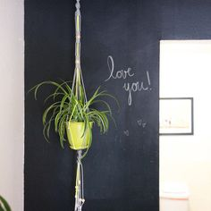 Good tutorial for a simple macrame hanging planter. You will need 55 ft of grey cord and 10 feet of yellow cord, plus some beads for the tassel if you desire them.