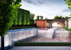 Canterbury Project | Nathan Burkett Design Pool Fence, Pool Decks, Garden Pool, Backyard Pool Designs, Pool Landscaping, Pool Decking Concrete, Raised Pools, Metal Pool, Grand Designs Australia