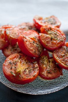 Roasted tomatoes topped with tarragon and garlic make a fresh and easy to prepare side dish.