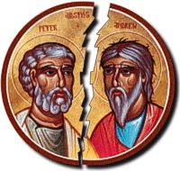 The split between the East and Western churches occurred officially in 1054 over which type of bread to use in mass and the celibacy of priests. The split was also caused by differences in culture, politics, and economics. The two churches has different views of Christianity as well.