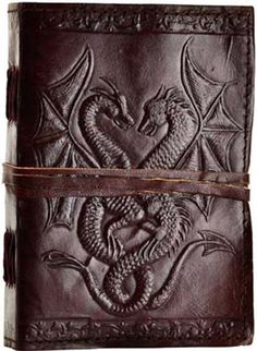 DOUBLE DRAGON Leather Bound Blank Book Diary Journal Cord Embossed Hand Tooled