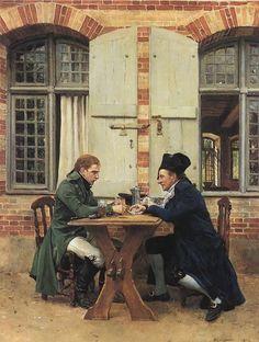 Les joueurs de cartes, huile sur toile de Jean Louis Ernest Meissonier (1815-1891, France)