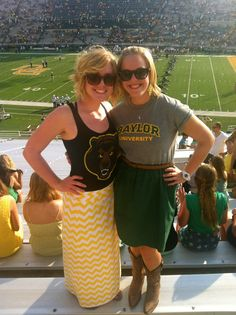 Baylor Game Day Outfit #maxiskirt #baylor #chevron @Baylor Proud