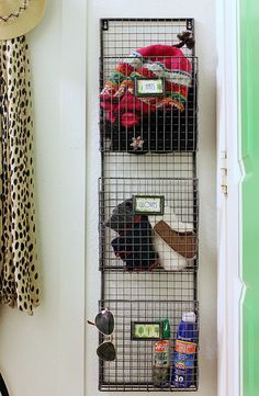 Magazine Rack to hold hats/gloves in Mudroom