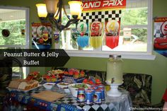 Cars Party -  Features a super EASY, kid friendly, peanut butter and Jelly buffet!  from WholesomeMommy.com