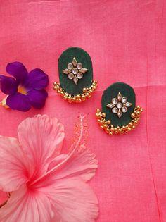 Diy Jewelry Set, Diy Fabric Jewellery, Handmade Wire Jewelry, Textile Jewelry, Silk Thread Earrings, Fabric Earrings, Tassel Earrings, Stud Earrings, Feather Jewelry