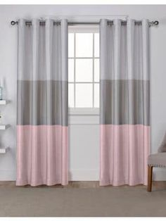 Home Outfitters Chateau Large Window Curtain - Blush - Size 108 inches Large Window Curtains, Large Windows, Panel Curtains, Wide Stripes, Blush Color, Gradient Color, Curtain Rods, Color Blocking, Colours