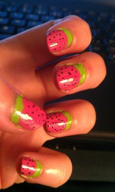 Strawberry nails - totally trying this myself soon